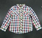 BOYS/KIDS BEN SHERMAN LONG SLEEVE CHECKED SHIRT IN RACING RED AND BLUE