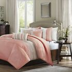 Luxury 6pc Coral Taupe Duvet Cover Bedding Set AND Decora...