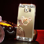US Bling Diamond TPU Soft Mirror Case Metal Stand Back Cover For Samsung Galaxy