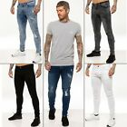 New ENZO Mens Stretch Super Skinny Ripped Casual Fashion Denim Jeans