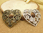 3/15/75pcs Lot Tibetan Silver Hollow Heart Jewelry Charm Pendant 32x30mm A888B