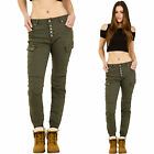 Womens Green Slim Skinny Stretch Cargo Pants Mid Rise Combat Trousers Short Leg