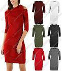 New Ladies Cut Out Shoulder Plain Knitted Rib Long Sleeve Bodycon Mini Dress Top