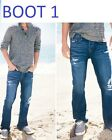 NWT HOLLISTER by ABERCROMBIE MEN   DESTROYED BUTTON FLY BOOT CUT JEANS ALL SZ