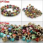 10X New Czech Crystal Columned Gold Big Hole Charms Beads Fit European Bracelets