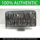 [OMNIA]Crystal Ladies Leather Checkbook Purse Zipper Wallet Clutch Sliver 375T image