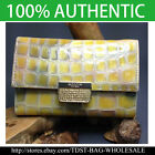 [OMNIA]Crystal Ladies Checkbook Genuine Leather Purse Middle Wallet Trifold 366M image