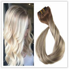 Full Head Sombre Balayage Remy Clip in Hair Extensions Ash Blonde Highlights NEW