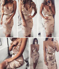 Sexy Womens Sequins Deep V-Neck Bandage Bodycon Club Cocktail Party Mini Dresses