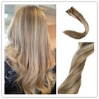 Brazilian Ombre Highlights Remy Clip in Extensions Human Hair Platinum Blonde