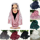 Fashion Women Lace Flower Muslim Hijab Shawl Long Scarf Scarves Stole Wrap