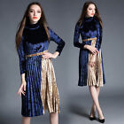 Fashion Lady Velvet Long Sleeve Joining together Evening Party Cocktail Dress Pa