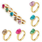 Fab Natural Druzy Quartz Crystals Stone Adjustable Finger Rings Jewelry Gold NEW