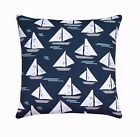 Cape May Boat Outdoor Pillow, Navy Grey White Blue Nautical Outdoor Throw Pillow