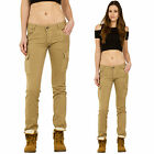 New Womens Brown Slim Fitted Skinny Stretch Low Rise Cargo Pants Combat Trousers