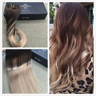 European Ombre Dark Brown to Ash Blonde Remy Clip In Human Hair Extensions New