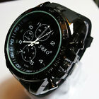 New Black Fashion Stainless Steel Luxury Sport Analog Quartz Mens Wrist Watch SS