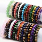 "Handmade Natural Gemstone Round Beads Stretch Bracelet Bangle 7.5"" You Choose image"