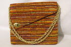 VintageExclusive FAYE MELL DESIGN Multi-ColorStriped Velour HandbagW/Chains B27