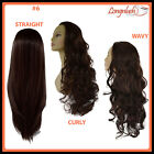 3/4 WIG #6 MEDIUM BROWN Wavy Curly Straight Long Clip in Hair Piece
