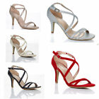 Kyпить WOMENS LADIES MID HIGH HEEL STRAPPY CROSSOVER WEDDING SANDALS SHOES SIZE 3 : 8 на еВаy.соm