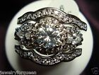 Stunning 3pcs Vintage Style 2.9ctw CZ Engagement Wedding Ring set 10K solid Gold