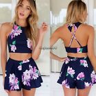 2016 Sexy Women's Outfit Flower Dress Set Shirt Crop Top + Shorts Pants Jumpsuit