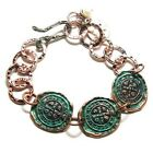 Copper Bracelet with Patina Coins