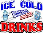 Ice Cold Drinks DECAL (CHOOSE YOUR SIZE) Soda Water Food Restaurant Concession