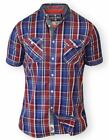D555 Twin Pocket Short Sleeve Blue & Red Check Shirt (Elias) in Size 2XL to 6XL