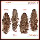 PONYTAIL Medium Brown/Blonde Mix #6-613 Curly Wavy Flick Falling Curls Clip Hair