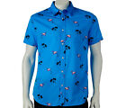 NWT Hang Ten Flamingo & Palm Trees Blue Button Down Men's Shirt M, XL, XXL