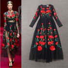 New Fashion Women's Long Sleeve Embroidered Flowers Vintage Tulle Long Dress