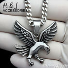 """18-36""""MEN Stainless Steel 4.5x2mm Silver Cuban Curb Link Chain EAGLE Pendant*P95"""