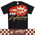 BSA 650 Lightning T Shirt Retro Vintage Motorcycle Biker Cafe Racer Tee S-5XL