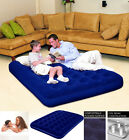 Inflatable Flocked Double Airbed / Pump Camping Mattress Blow Up Bed w Coil