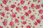 Pink roses on white floral fabric 100% cotton in fat quarter half metre & metre