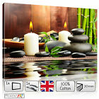 LARGE ZEN CALMING LOVE CANDLE STONES AND BAMBOO CANVAS WALL ART PRINT PICTURES