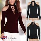 Womens Ladies Casual Long Sleeve Shirt Lace-Up Tops Blouse Off Shoulder T-Shirt