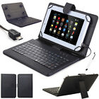 US Gift For 9.7 10 10.1 Inch Tablets Black Leather Case Cover Micro USB Keyboard