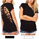 Casual Women Backless Cut Out Angel Wing Hollow Short Sleeve Blouse Tops T-shirt
