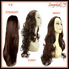 3/4 WIG #8 CHOCOLATE BROWN Wavy Straight Curly Clip in Hair Piece Extensions