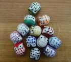 Handmade Porcelain Owl Beads, Mixed Colours, Famille Rose - Choose  5, 10