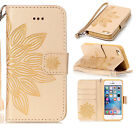 Leather case for iphone 5S 7plus PU Leather Half flower Pattern Wallet Hand Rope