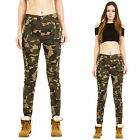 New Womens Mid Rise Slim Stretch Army Military Style Camouflage Trousers Pants