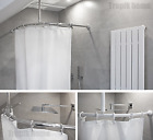 Curved Shower Curtain Rail Pole Rod With Ceiling Bracket and Hooks,Various Sizes