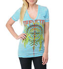 Affliction Women's Mandela AW6796 SS V Neck in Lt Turquoise Burnout Wash