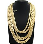 "Mens Miami Cuban link Chain 5mm to 12mm 8"" 9"" 20"" 22"" 24"" 26"" 30"" Gold Plated image"