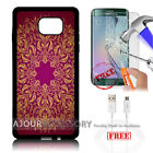 Samsung S6 Edge+ Plus 5.7' Case Cover Tempered Glass Film A4862 Flower