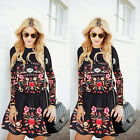 Women Ladies Casual Floral Long Sleeve Party Evening Cocktail Casual Mini Dress